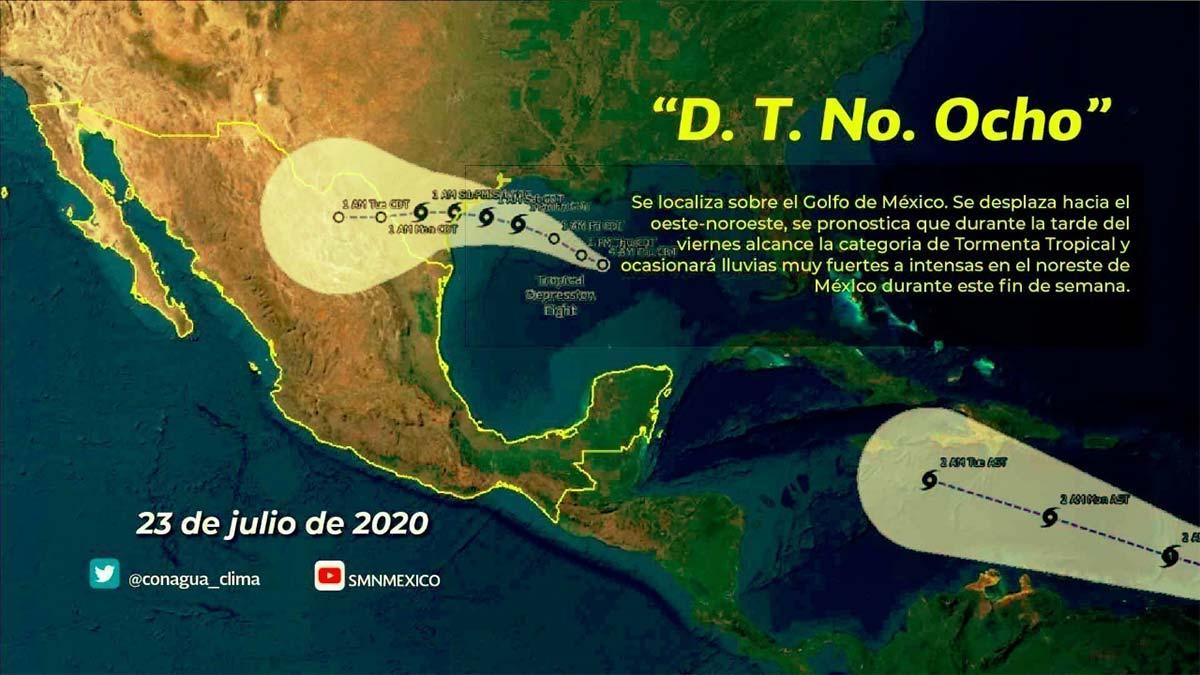 Depresión tropical Ocho: prevén fuertes lluvias en estos estados