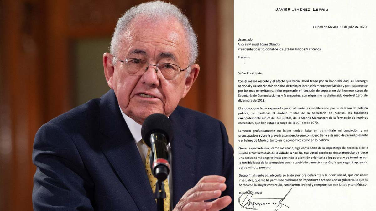Carta de renuncia de Javier Jiménez Espriú a la SCT
