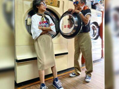 Abuelitos de Taiwán modelan ropa que clientes dejan en lavandería