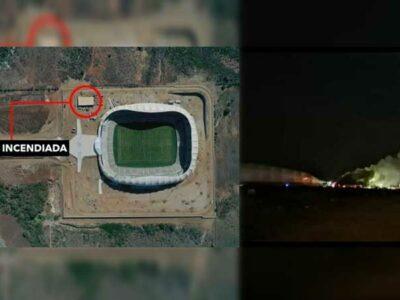 Incendio en bodega del estadio de futbol del Mazatlán FC