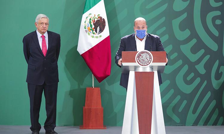 Gobernador de Jalisco en conferencia de prensa con el presidente Andrés Manuel López Obrador.