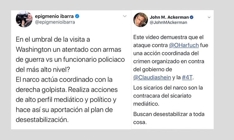 Tuits de de Epigmenio Ibarra y John Ackerman