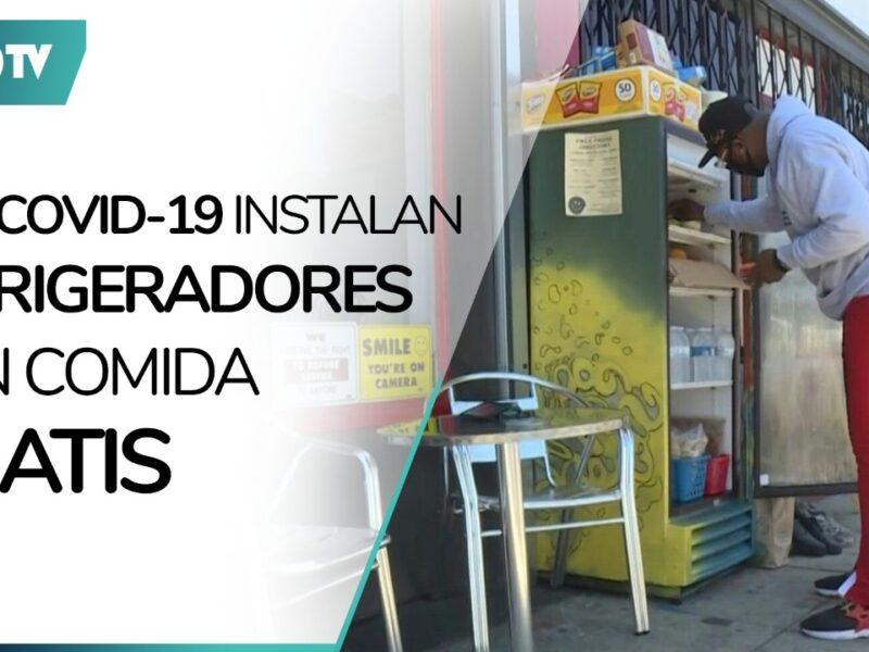 COVID-19: Instalan refrigeradores con comida gratis por pandemia