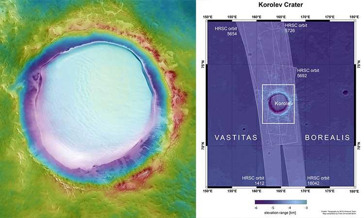 Para el video del cráter en Marte de hielo se hicieron combinaciones de datos topográficos y de color.