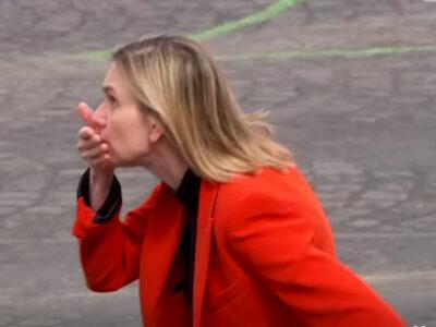Ministra francesa olvida su cubrebocas y esta fue su reacción