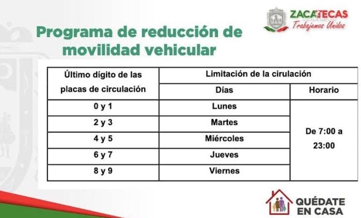 No Circula Zacatecas calendario