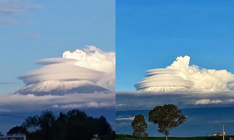 El Popocatépetl hace ruido de turbina y se forman raras nubes