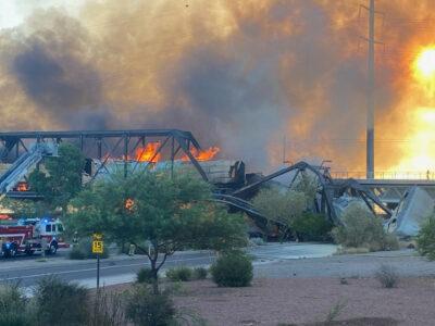 Tren descarrila y provoca incendio en Temple, Arizona