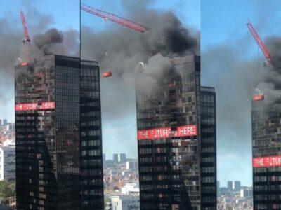 World Trade Center de Bruselas, Bélgica, se incendia