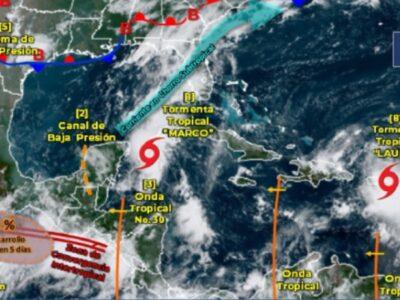 Tormentas tropicales Marco y Laura ponen en alerta al Golfo de México