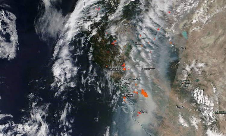 incendios forestales california satelite