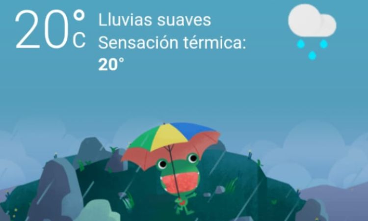 La tierna ranita que acompaña a los usuarios en la búsqueda del clima en Google ya usa distintos estilos de cubrebocas.