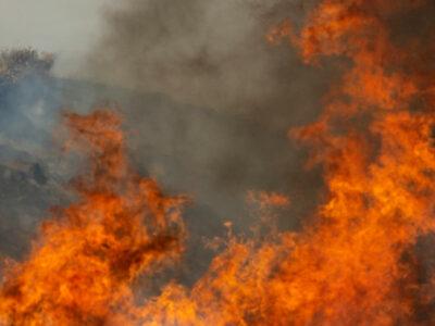 En California, bomberos combaten incendio al este de Los Ángeles