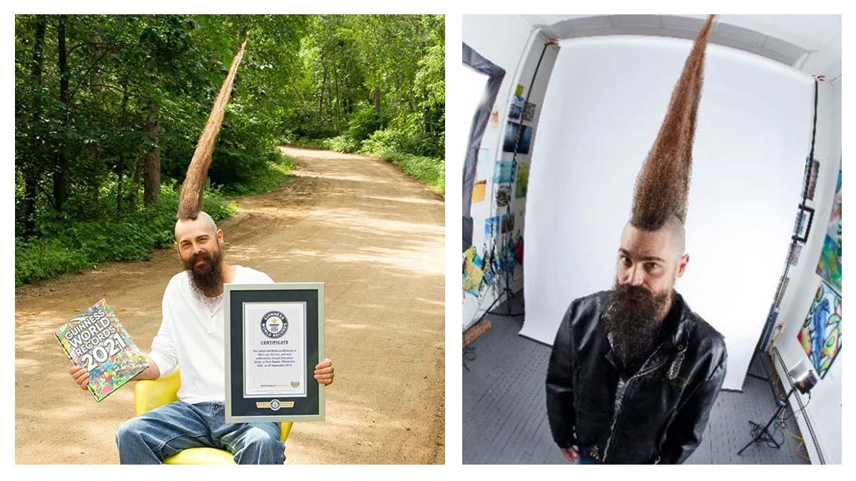 A la mohicano: este es el peinado más alto del mundo