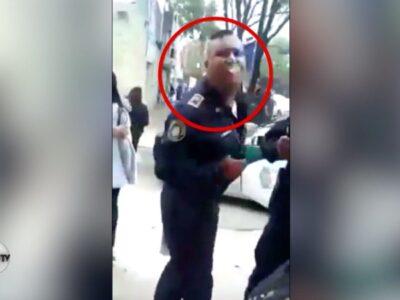 policía escupió