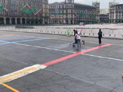 Zócalo de CDMX luce vacío, previo a Grito de Independencia