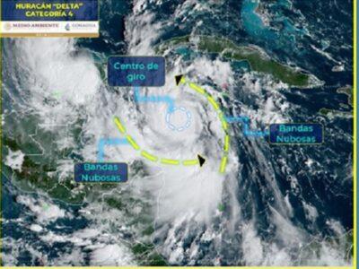 Huracán Delta ya es categoría 4; emiten alerta roja