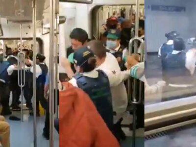 Metro de la CDMX: captan riña entre policías y vagoneros