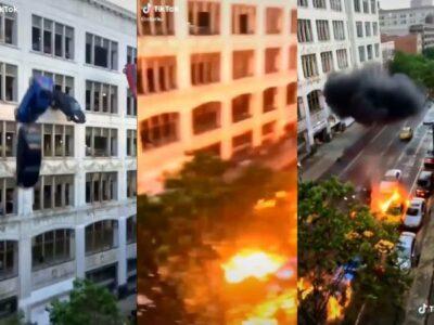 autos edificio explotan