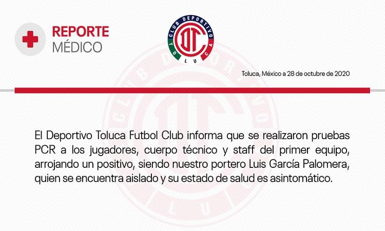 Luis García Palomera, portero del Toluca, da positivo a COVID-19