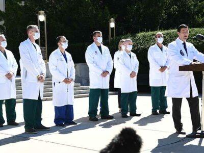 Médicos reportan estable a Trump y sin necesidad de usar oxígeno