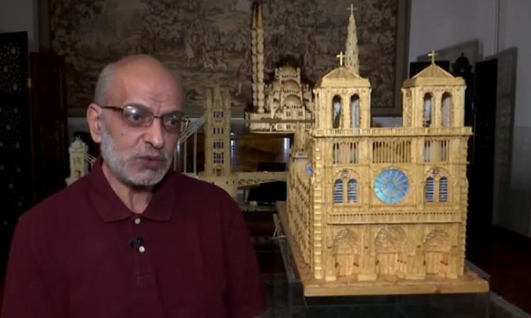 Ahmed Hassan construye con cerillos réplicas de monumentos mundiales