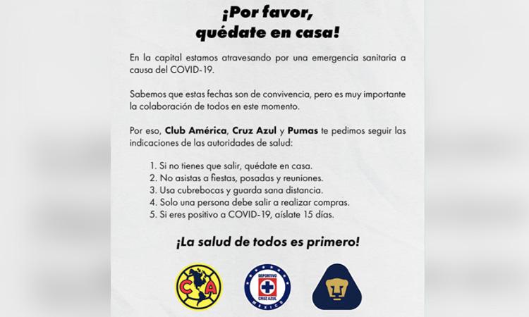 América, Pumas y Cruz Azul se unen; llaman a quedarse en casa
