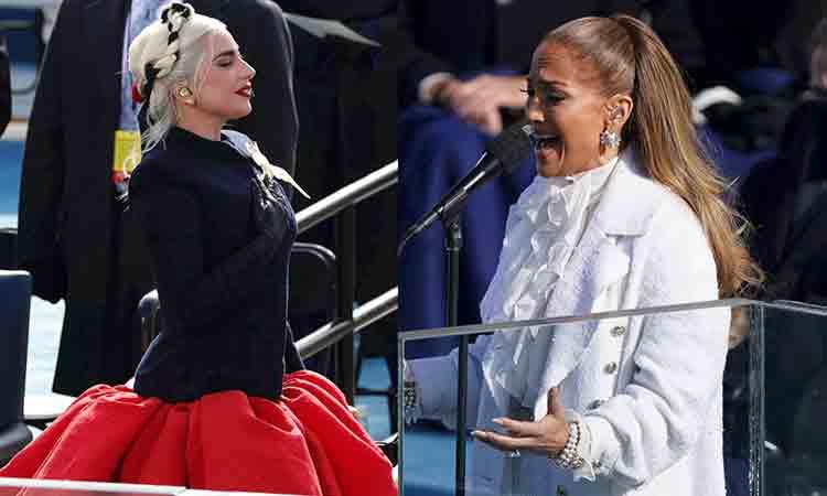 """Lady Gaga entona himno y JLo pide """"justicia para todos"""""""