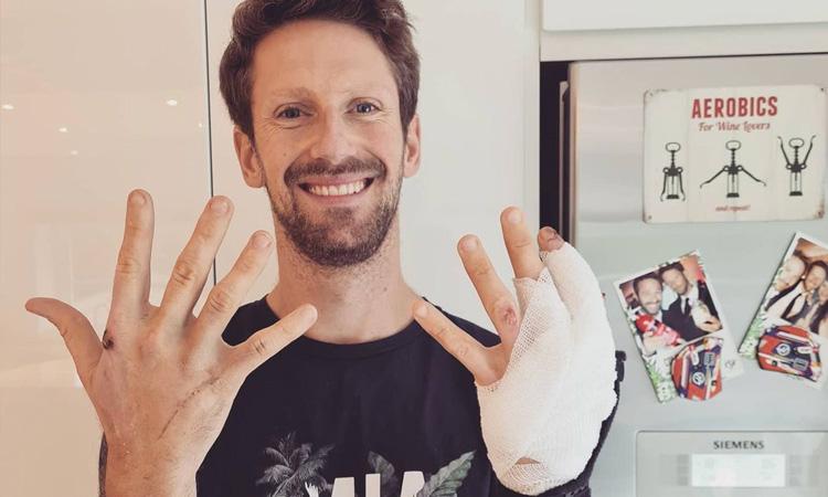 Romain Grosjean muestra las cicatrices que le dejo el aparatoso accidente en F1