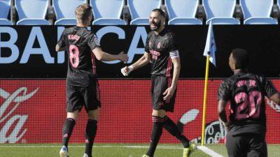 Benzema marcó doblete en la victoria del Real Madrid