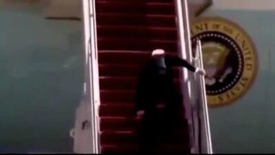 Hijo de Trump reacciona a tropiezo y caída de Biden con este video