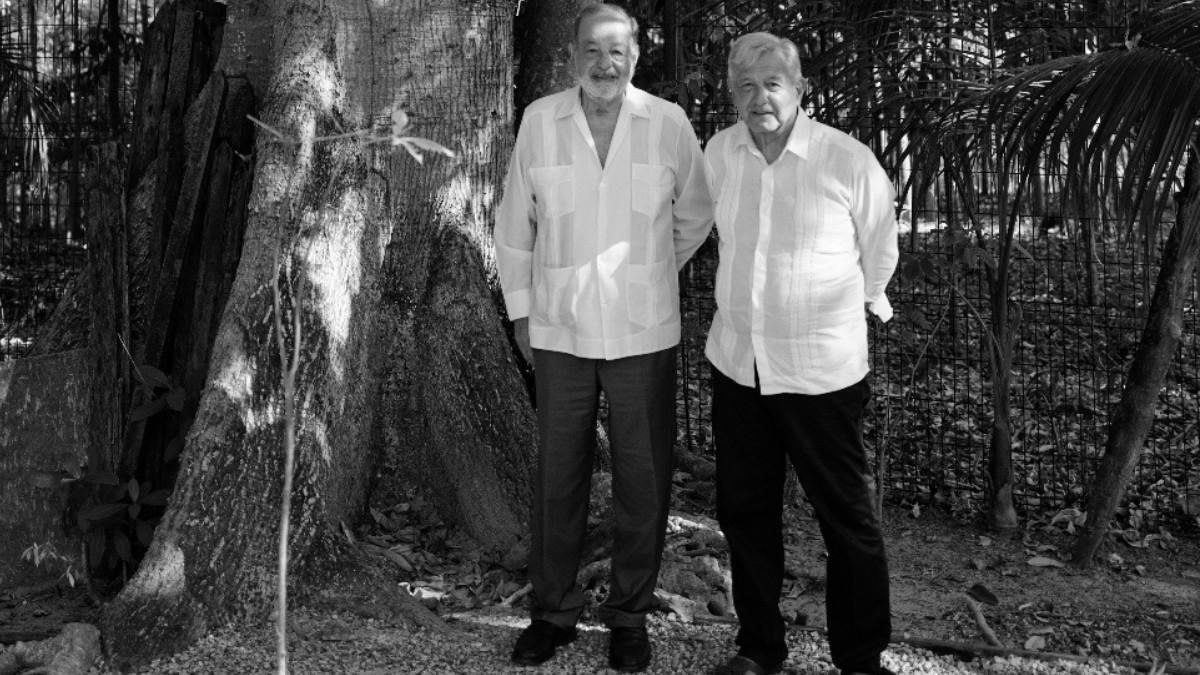 AMLO se reúne con el ingeniero Carlos Slim para evaluar avances en la construcción del Tren Maya