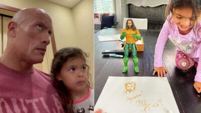 Aquaman felicita a la hija de tres años de La Roca, así reacciona la pequeña