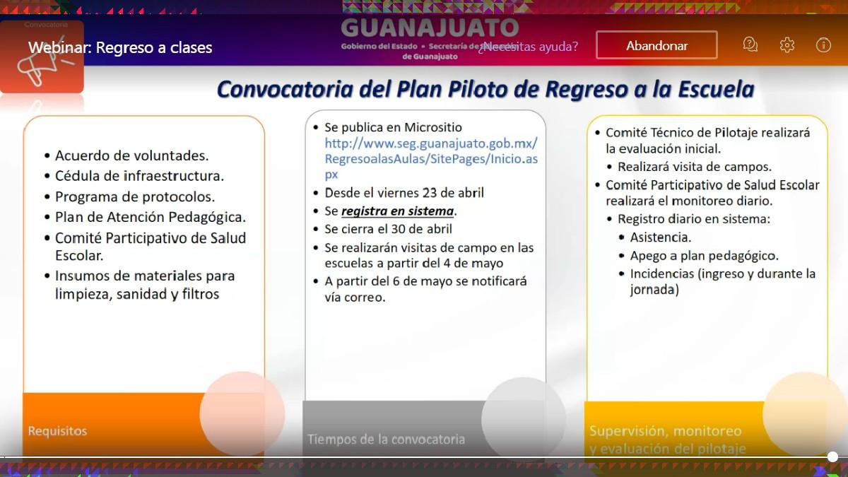 Guanajuato avanza en prueba piloto de regreso a escuelas