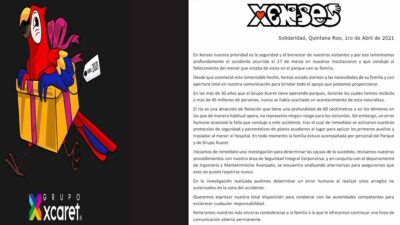 "Grupo Xcaret admite ""error humano"" en muerte de niño en parque Xenses"