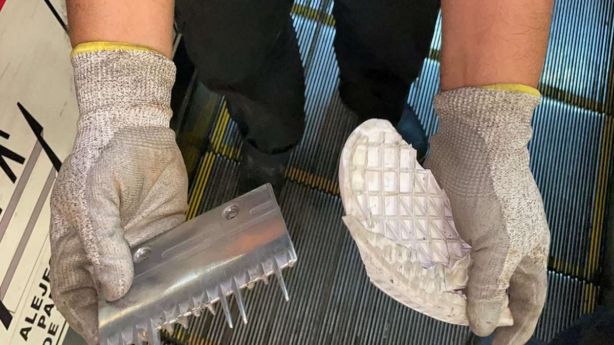 Metro CDMX: suela de zapato descompone escalera eléctrica en Línea 9