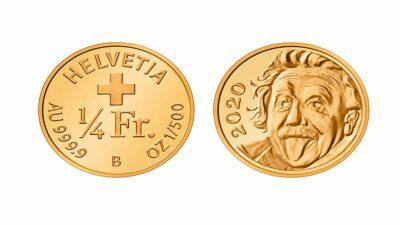 Moneda más pequeña del mundo tiene la imagen de Einstein sacando la lengua