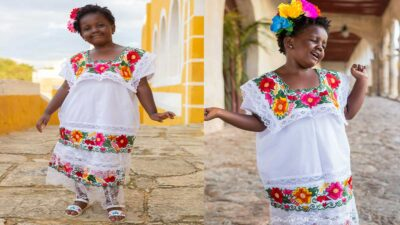 Yucatán: Taylor, niña de Chicago se hace viral con traje yucateco