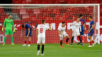Atlético de Madrid peligra en la cima tras perder con Sevilla