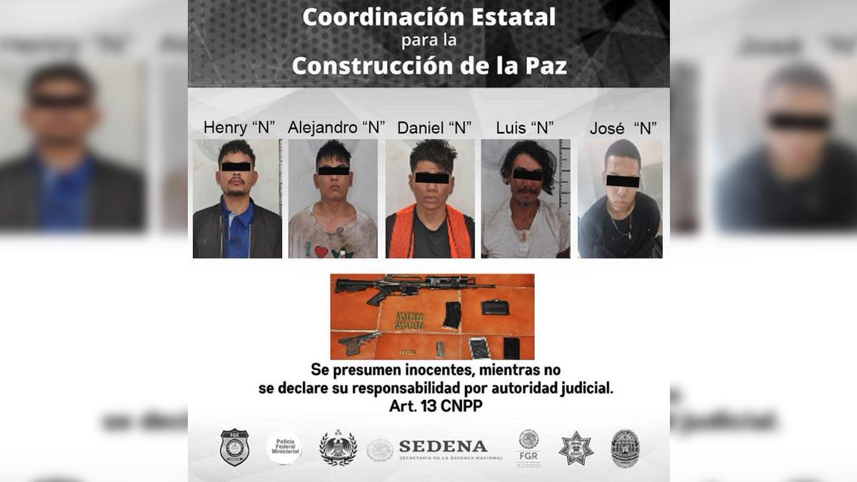 Morelos: detienen a cinco hombres que iban en auto con armas
