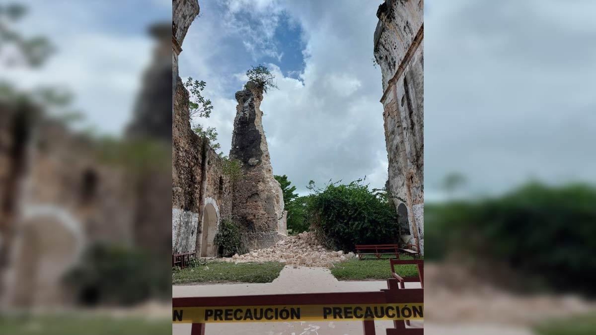 Quintana Roo: cae fachada de Templo del niño Jesús en Tihosuco