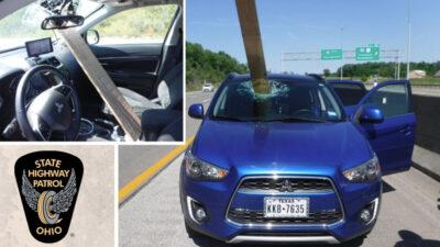 Ohio: tabla de madera sale volando y atraviesa parabrisas de un auto