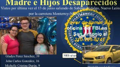 FBI busca a familia de Texas, desaparecida en carretera de Nuevo León
