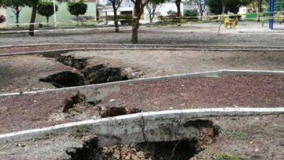 Grieta en Celaya, Guanajuato, aparece en parque; esto se sabe