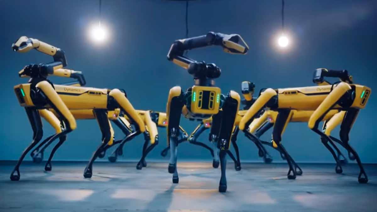 Captura de los perros robot bailando al ritmo de BTS. | Foto: Boston Dynamics.