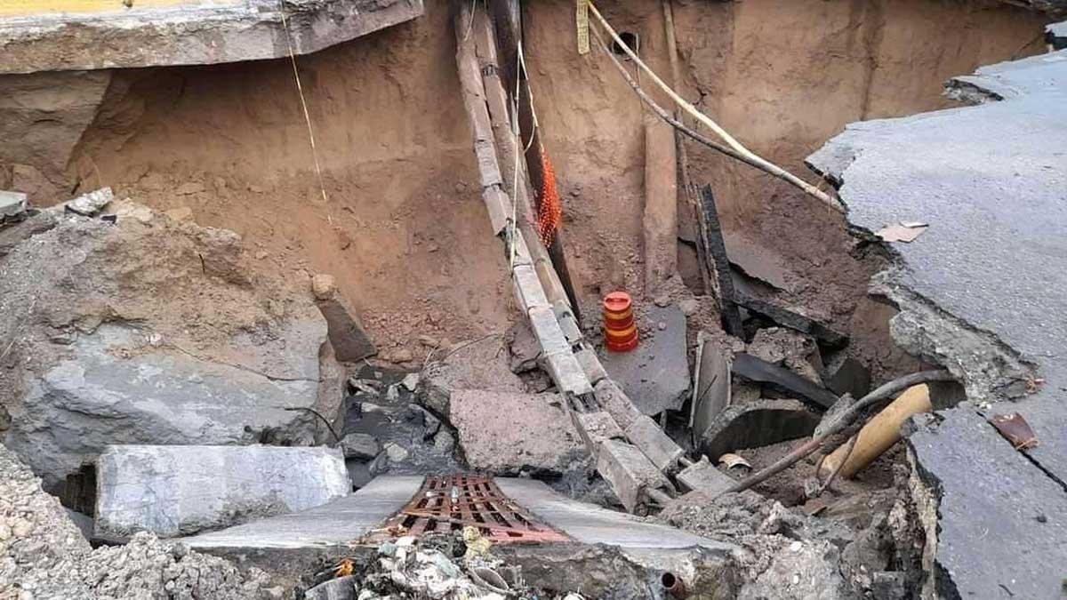 Tamaulipas: enorme socavón en calles de Nuevo Laredo