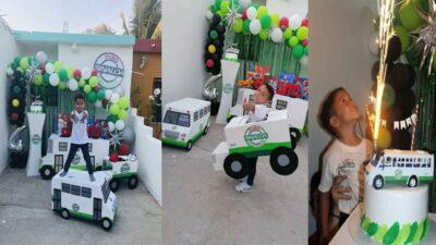 Sinaloa: niño hace fiesta temática de camiones y se viraliza