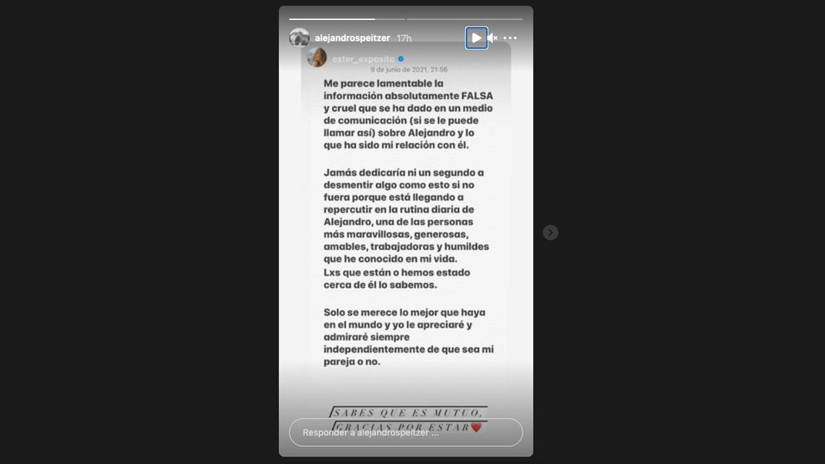 Tras los rumores de ruptura entre Alejandro Speitzer y Ester Expósito, ambos actores se han dedicado algunos mensajes