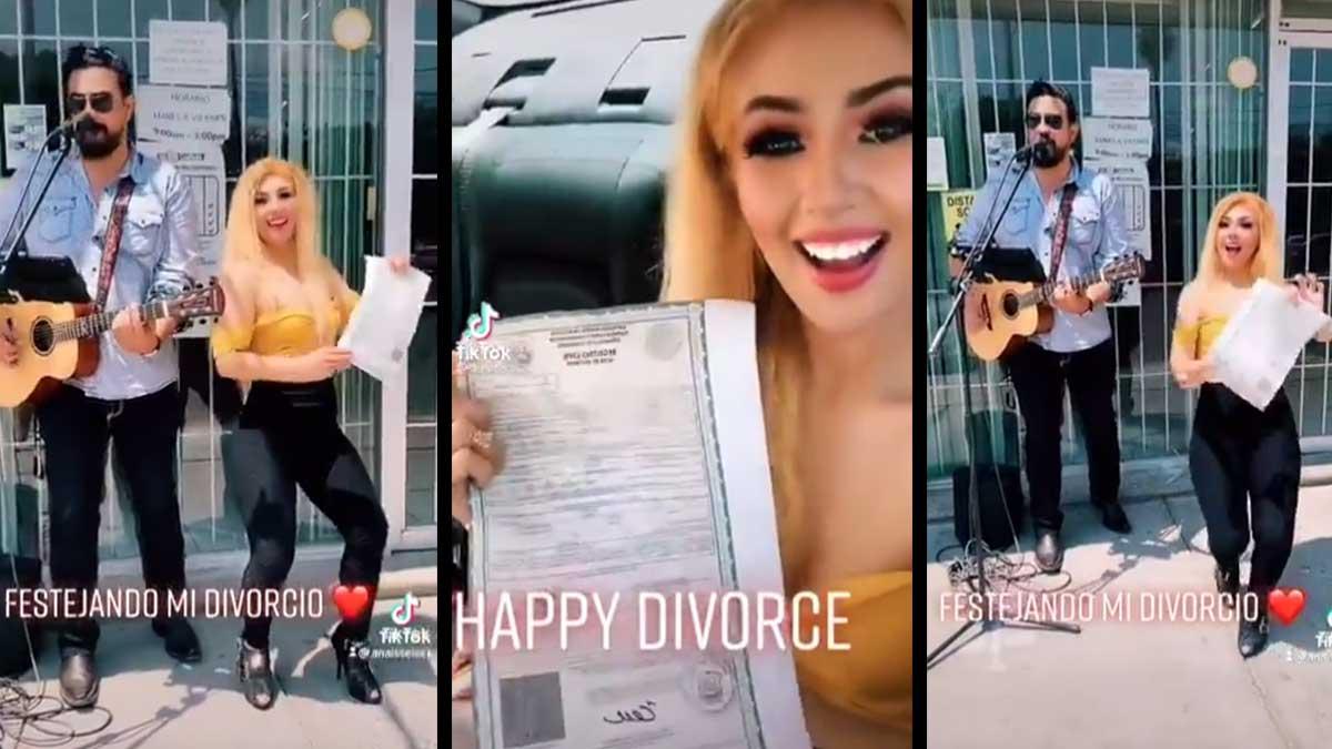 Coahuila: mujer celebra divorcio con música afuera de registro civil