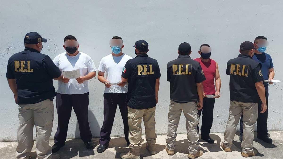 Todos los detenidos son agentes de la Policía Municipal de Mérida. Foto: Cortesía